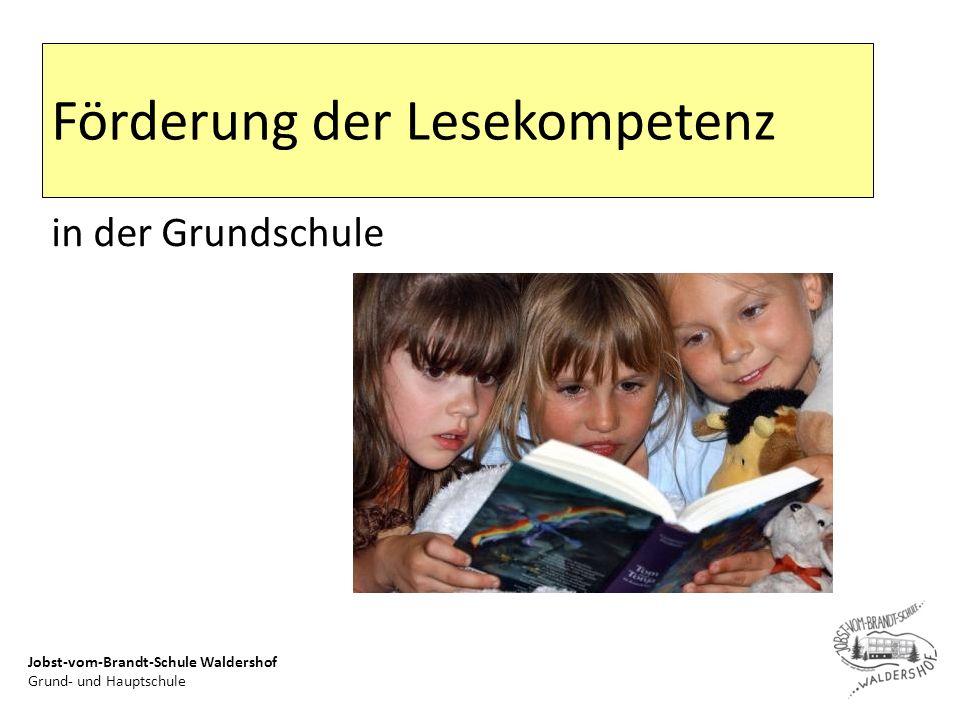 Jobst-vom-Brandt-Schule Waldershof Grund- und Hauptschule Zielsetzung Wie können Schüler/innen beim Erwerb der Lesekompetenz gezielt gefördert werden.
