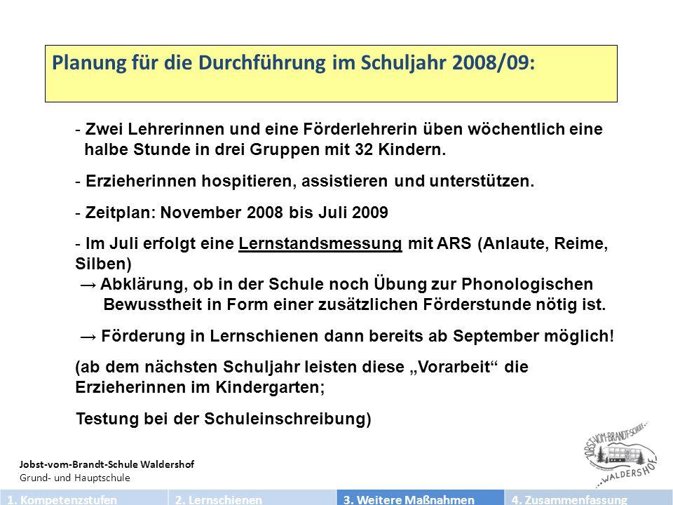Jobst-vom-Brandt-Schule Waldershof Grund- und Hauptschule - Zwei Lehrerinnen und eine Förderlehrerin üben wöchentlich eine halbe Stunde in drei Gruppen mit 32 Kindern.