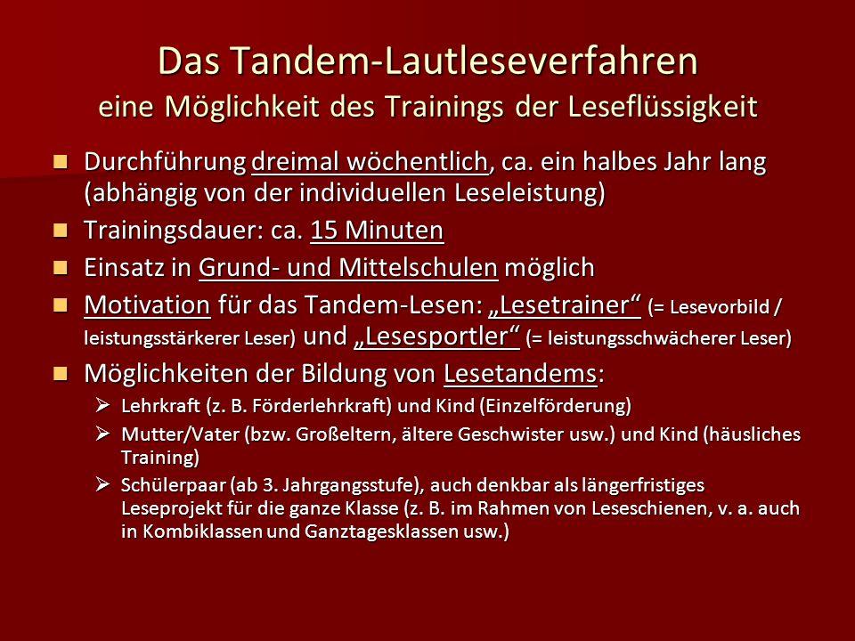 Das Tandem-Lautleseverfahren eine Möglichkeit des Trainings der Leseflüssigkeit Durchführung dreimal wöchentlich, ca. ein halbes Jahr lang (abhängig v