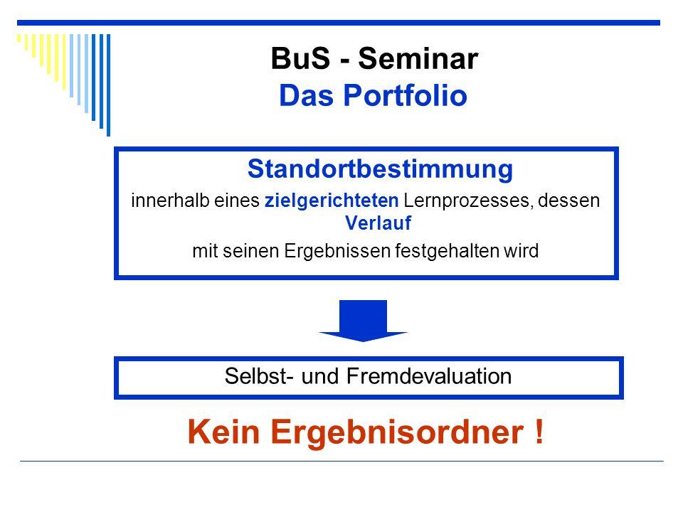 BuS - Seminar Das Portfolio Standortbestimmung innerhalb eines zielgerichteten Lernprozesses, dessen Verlauf mit seinen Ergebnissen festgehalten wird