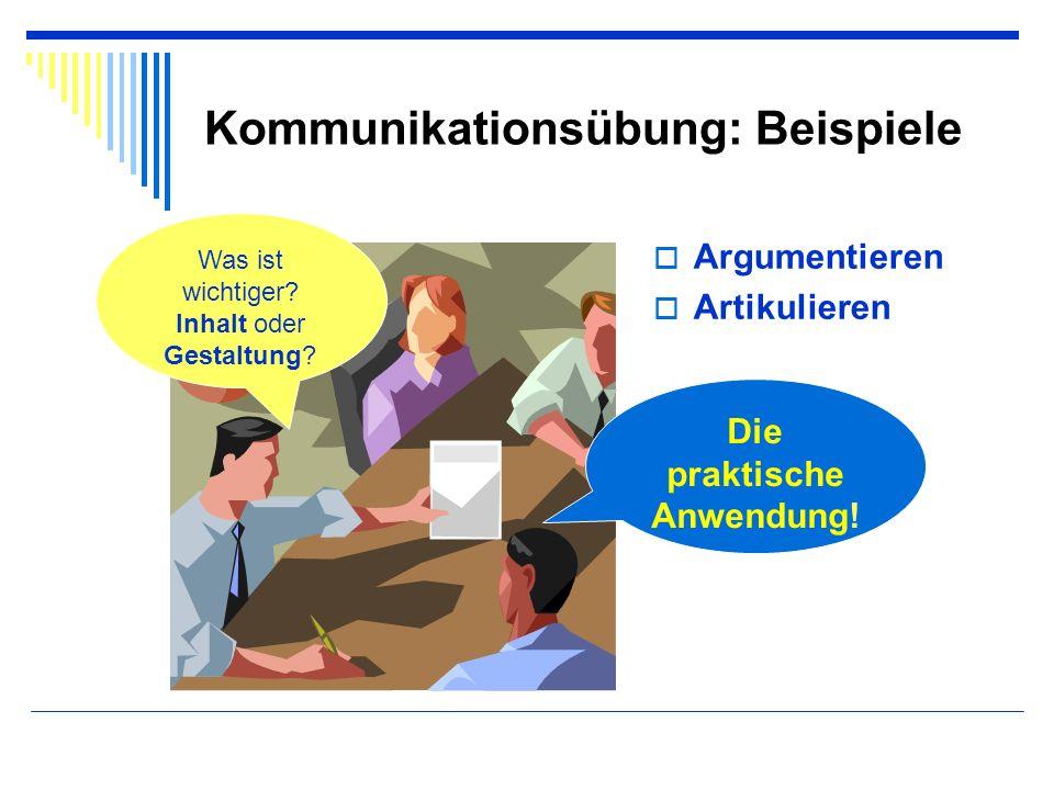 Kommunikationsübung: Beispiele Argumentieren Artikulieren Was ist wichtiger? Inhalt oder Gestaltung? Die praktische Anwendung!