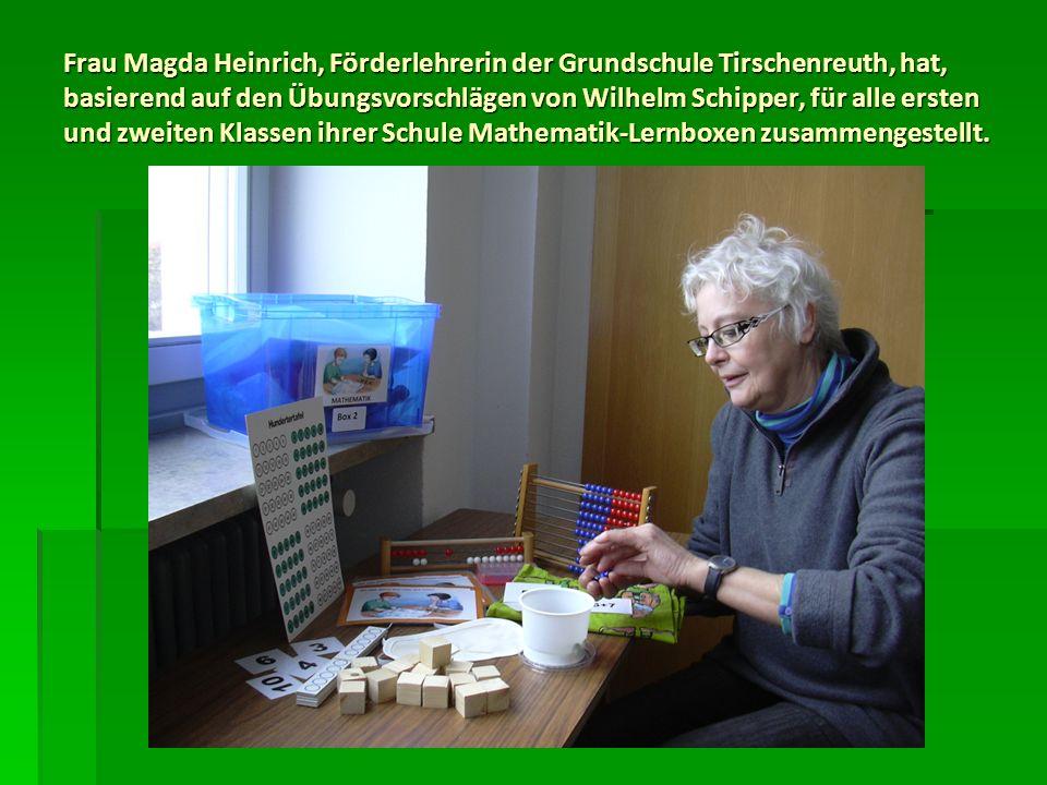 Frau Magda Heinrich, Förderlehrerin der Grundschule Tirschenreuth, hat, basierend auf den Übungsvorschlägen von Wilhelm Schipper, für alle ersten und