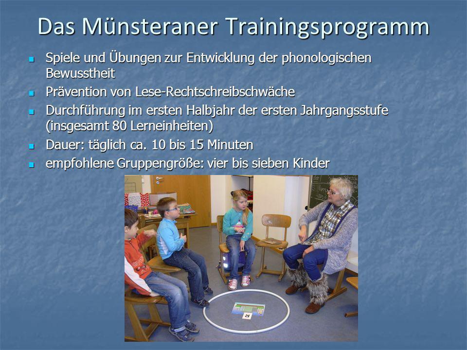 Das Münsteraner Trainingsprogramm Spiele und Übungen zur Entwicklung der phonologischen Bewusstheit Spiele und Übungen zur Entwicklung der phonologisc