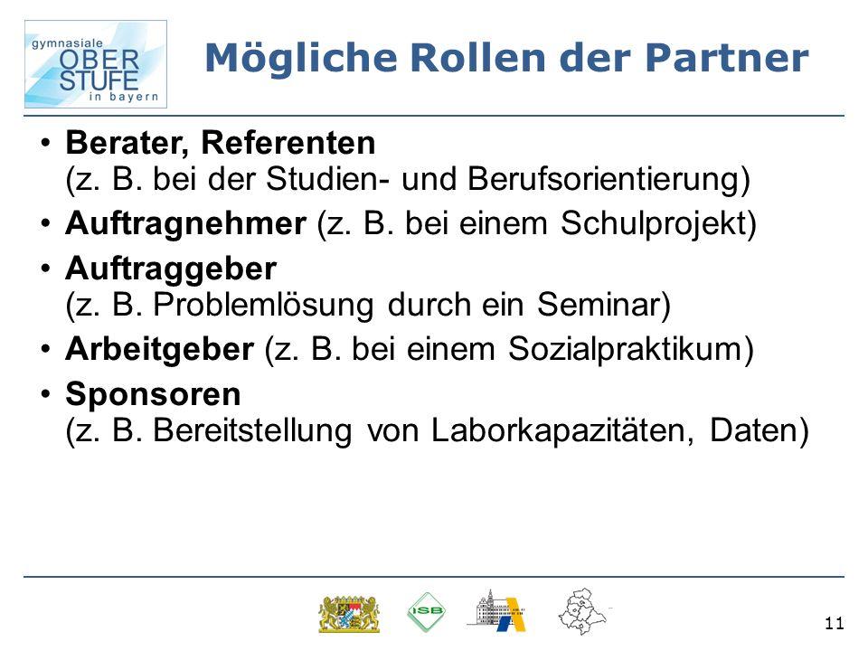 11 Mögliche Rollen der Partner Berater, Referenten (z.
