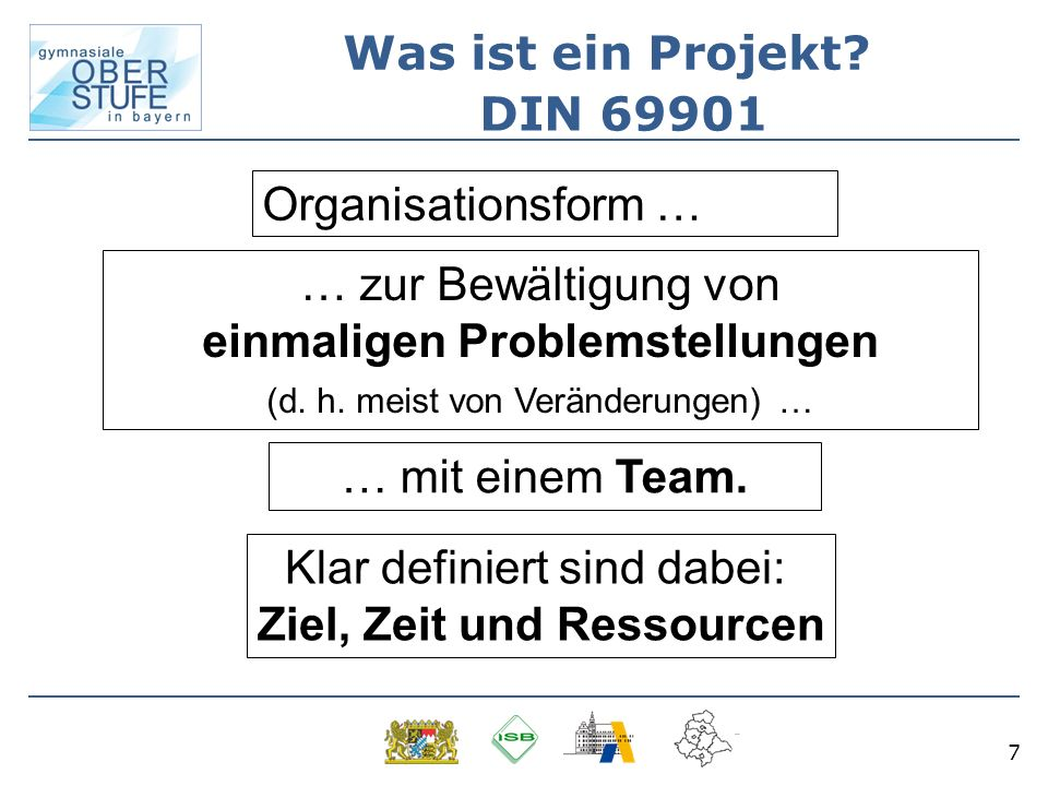 7 Was ist ein Projekt.Organisationsform … … zur Bewältigung von einmaligen Problemstellungen (d.