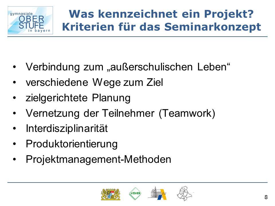 8 Verbindung zum außerschulischen Leben verschiedene Wege zum Ziel zielgerichtete Planung Vernetzung der Teilnehmer (Teamwork) Interdisziplinarität Produktorientierung Projektmanagement-Methoden Was kennzeichnet ein Projekt.