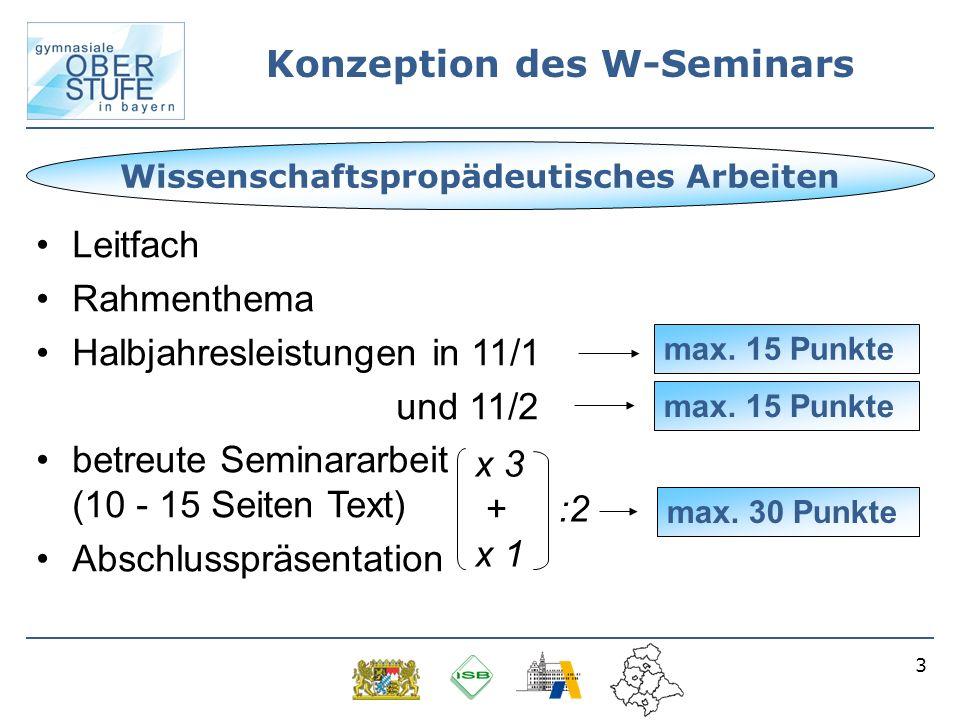 3 Konzeption des W-Seminars Leitfach Rahmenthema Halbjahresleistungen in 11/1 und 11/2 betreute Seminararbeit (10 - 15 Seiten Text) Abschlusspräsentat