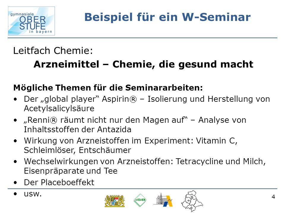4 Beispiel für ein W-Seminar Leitfach Chemie: Arzneimittel – Chemie, die gesund macht Mögliche Themen für die Seminararbeiten: Der global player Aspir