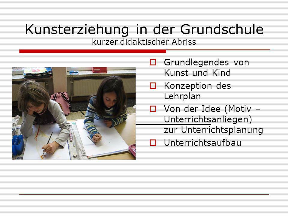 Kunsterziehung in der Grundschule kurzer didaktischer Abriss Grundlegendes von Kunst und Kind Konzeption des Lehrplan Von der Idee (Motiv – Unterricht