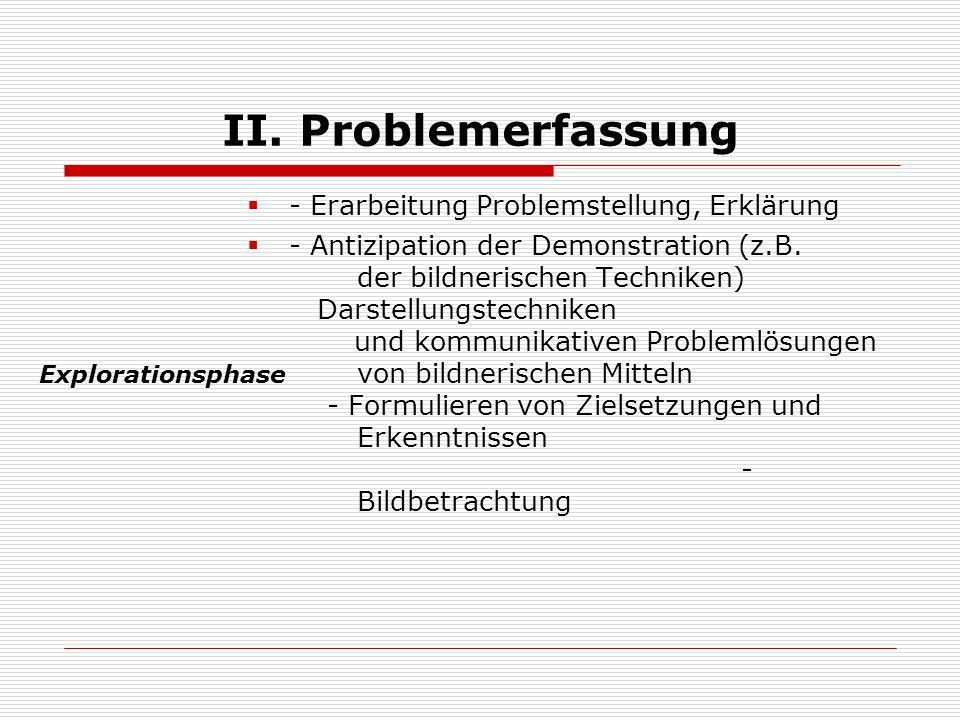 II. Problemerfassung - Erarbeitung Problemstellung, Erklärung - Antizipation der Demonstration (z.B. der bildnerischen Techniken) Darstellungstechnike