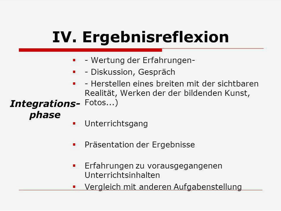IV. Ergebnisreflexion - Wertung der Erfahrungen- - Diskussion, Gespräch - Herstellen eines breiten mit der sichtbaren Realität, Werken der der bildend