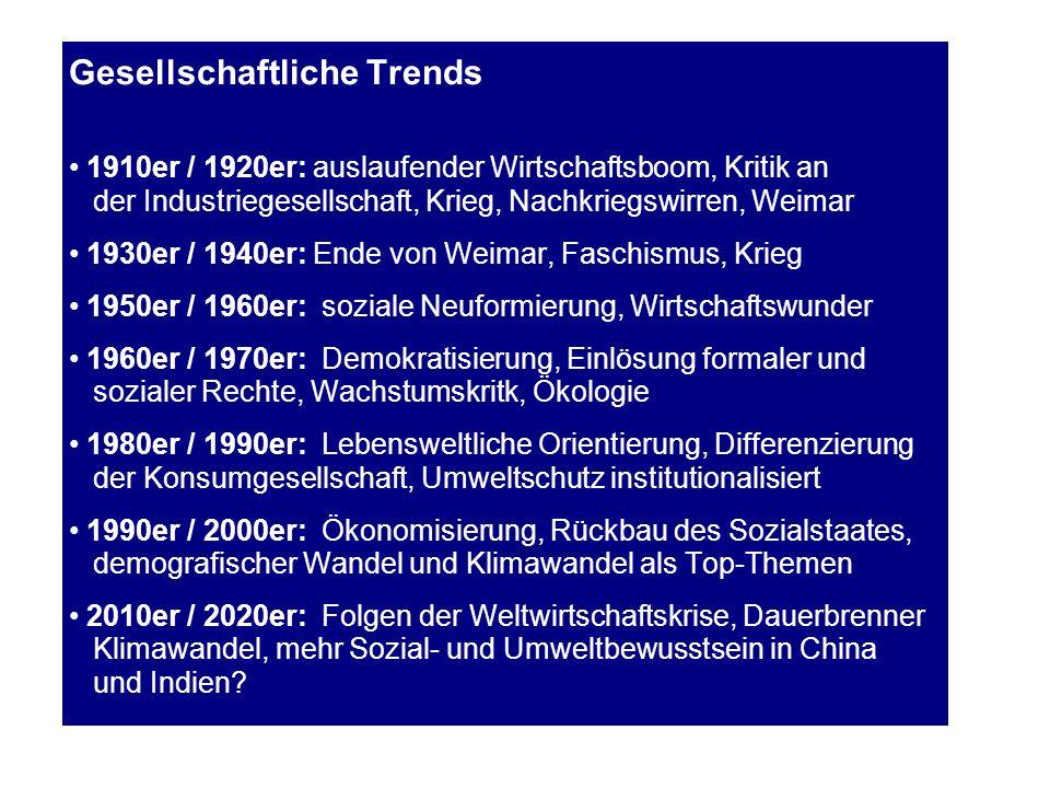 Gesellschaftliche Trends 1910er / 1920er: auslaufender Wirtschaftsboom, Kritik an der Industriegesellschaft, Krieg, Nachkriegswirren, Weimar 1930er /