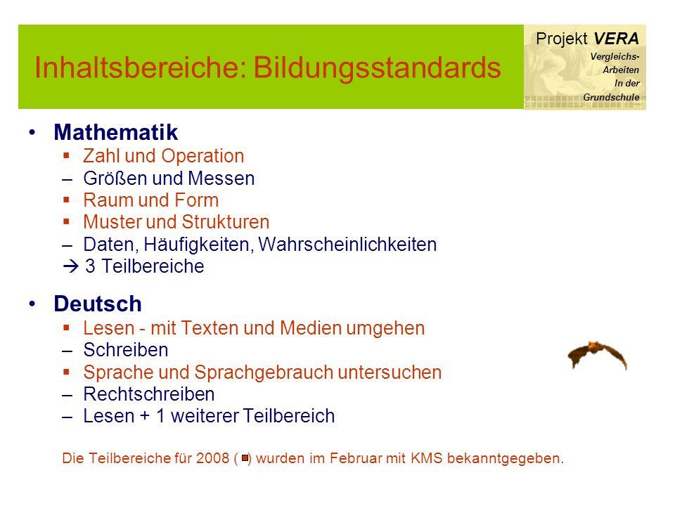 Mathematik Zahl und Operation –Größen und Messen Raum und Form Muster und Strukturen –Daten, Häufigkeiten, Wahrscheinlichkeiten 3 Teilbereiche Deutsch