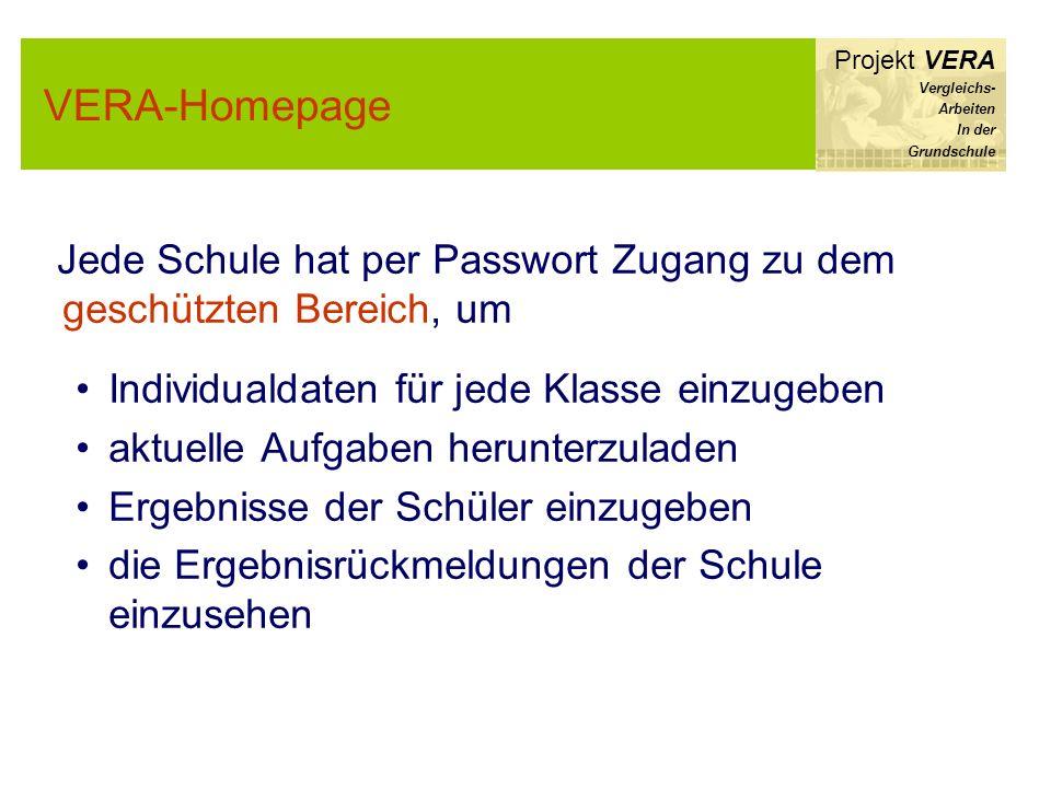 VERA-Homepage Projekt VERA Vergleichs- Arbeiten In der Grundschule Jede Schule hat per Passwort Zugang zu dem geschützten Bereich, um Individualdaten