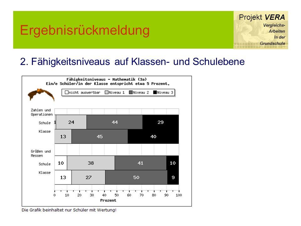 Ergebnisrückmeldung Projekt VERA Vergleichs- Arbeiten In der Grundschule 2. Fähigkeitsniveaus auf Klassen- und Schulebene