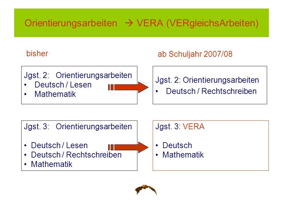 Jgst. 2: Orientierungsarbeiten Deutsch / Lesen Mathematik Jgst. 2: Orientierungsarbeiten Deutsch / Rechtschreiben Orientierungsarbeiten VERA (VERgleic