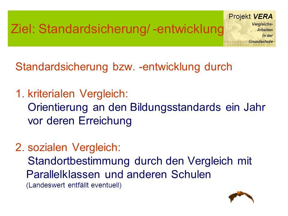 Ziel: Standardsicherung/ -entwicklung Projekt VERA Vergleichs- Arbeiten In der Grundschule Standardsicherung bzw. -entwicklung durch 1. kriterialen Ve