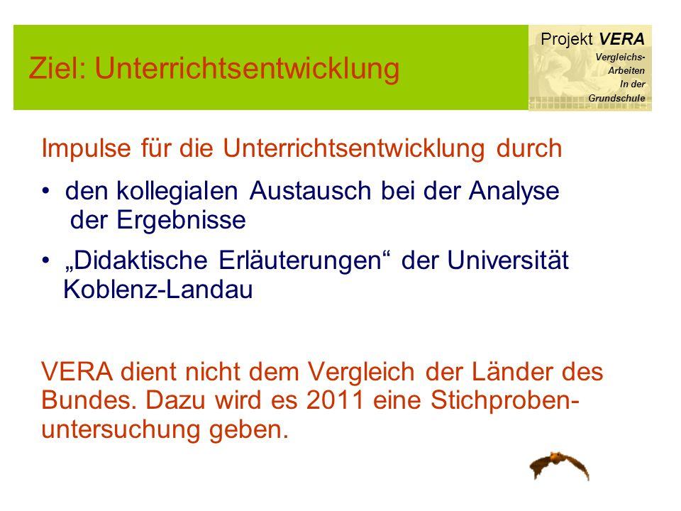 Ziel: Unterrichtsentwicklung Projekt VERA Vergleichs- Arbeiten In der Grundschule Impulse für die Unterrichtsentwicklung durch den kollegialen Austaus