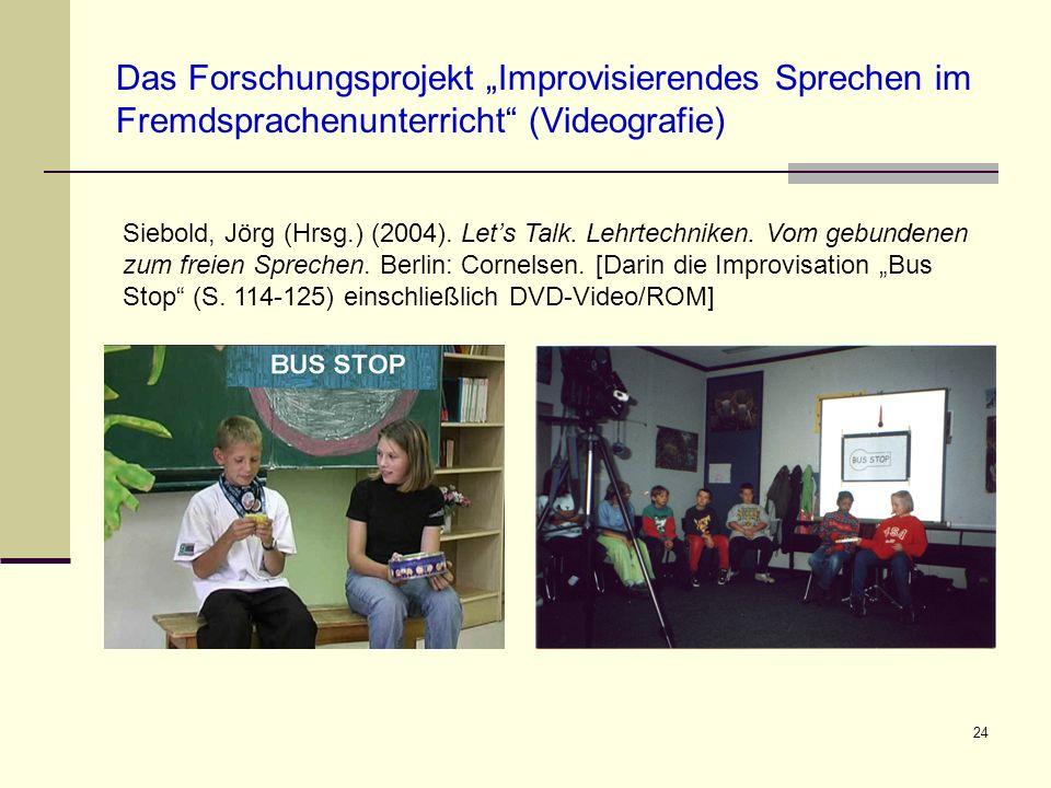 24 Das Forschungsprojekt Improvisierendes Sprechen im Fremdsprachenunterricht (Videografie) Siebold, Jörg (Hrsg.) (2004). Lets Talk. Lehrtechniken. Vo