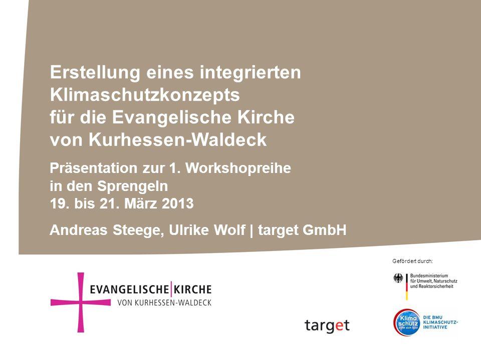 Gefördert durch: Erstellung eines integrierten Klimaschutzkonzepts für die Evangelische Kirche von Kurhessen-Waldeck Präsentation zur 1. Workshopreihe