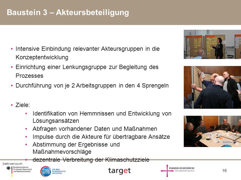 Gefördert durch: 16 Baustein 3 – Akteursbeteiligung Intensive Einbindung relevanter Akteursgruppen in die Konzeptentwicklung Einrichtung einer Lenkung