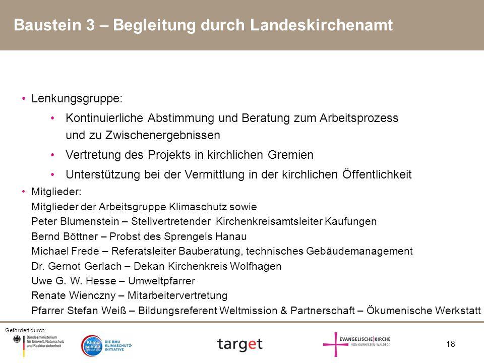 Gefördert durch: 18 Baustein 3 – Begleitung durch Landeskirchenamt Lenkungsgruppe: Kontinuierliche Abstimmung und Beratung zum Arbeitsprozess und zu Z