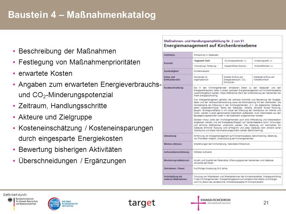 Gefördert durch: 21 Baustein 4 – Maßnahmenkatalog Beschreibung der Maßnahmen Festlegung von Maßnahmenprioritäten erwartete Kosten Angaben zum erwartet