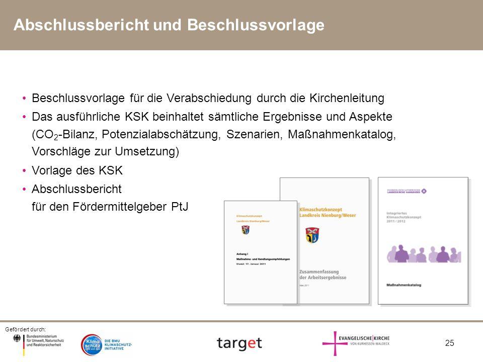 Gefördert durch: 25 Abschlussbericht und Beschlussvorlage Beschlussvorlage für die Verabschiedung durch die Kirchenleitung Das ausführliche KSK beinha