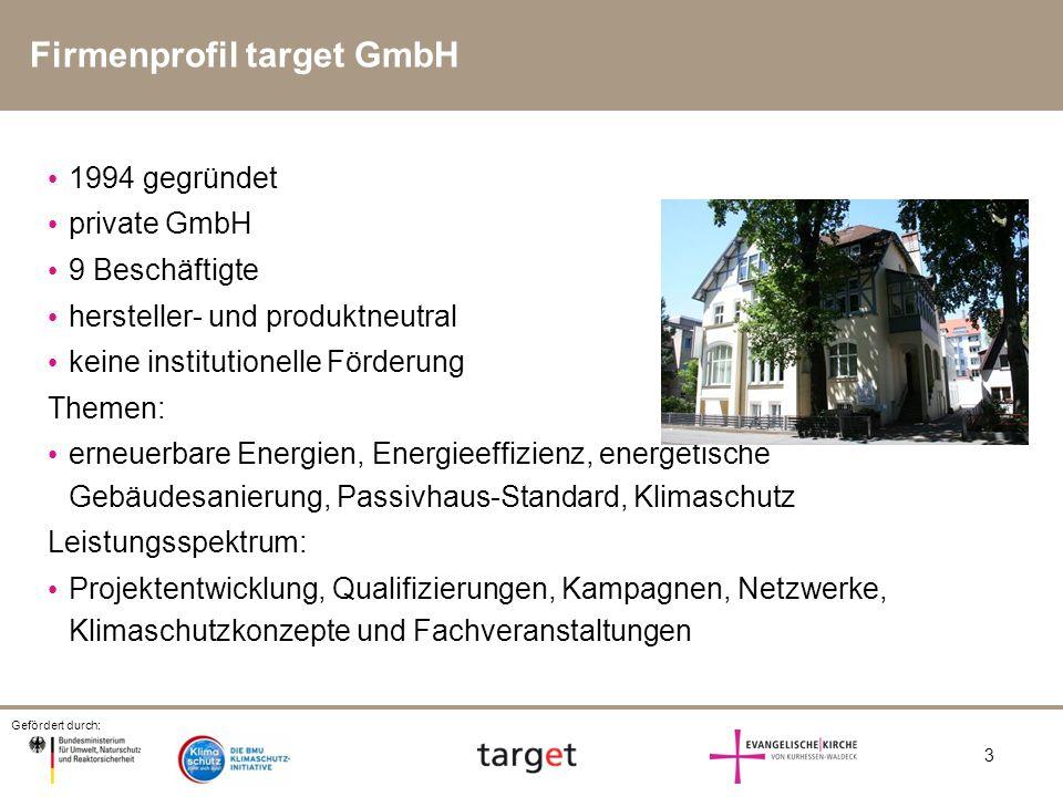 Gefördert durch: 3 1994 gegründet private GmbH 9 Beschäftigte hersteller- und produktneutral keine institutionelle Förderung Themen: erneuerbare Energ