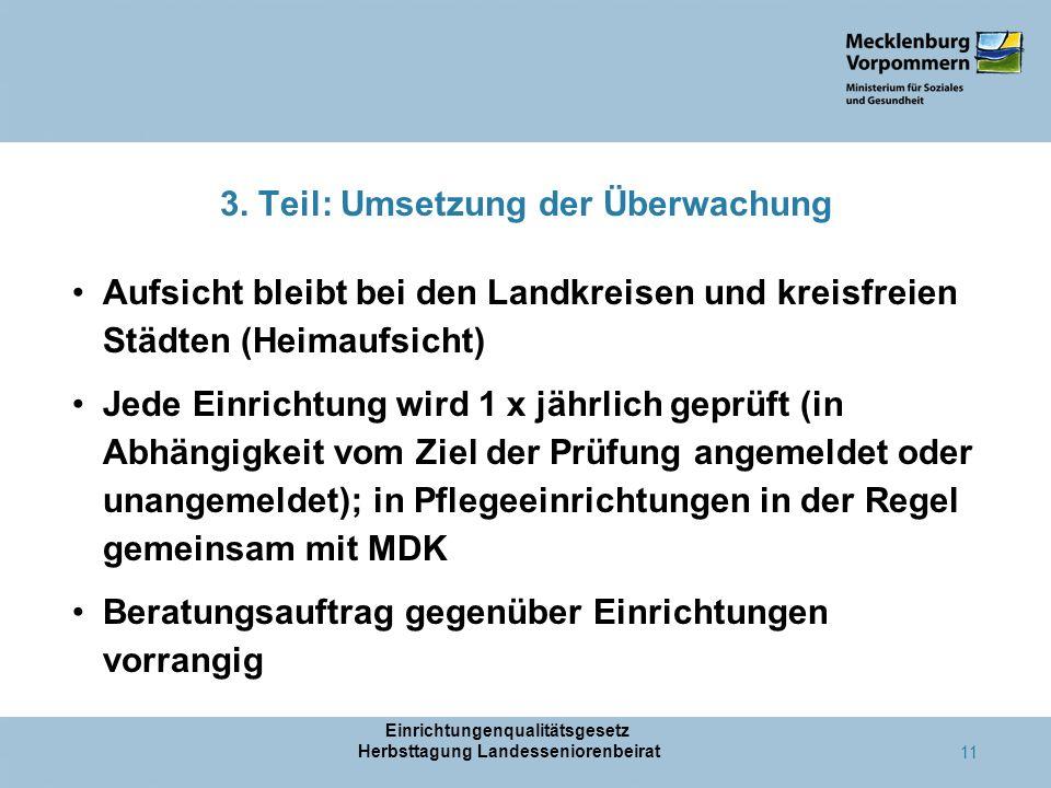 3. Teil: Umsetzung der Überwachung Aufsicht bleibt bei den Landkreisen und kreisfreien Städten (Heimaufsicht) Jede Einrichtung wird 1 x jährlich geprü