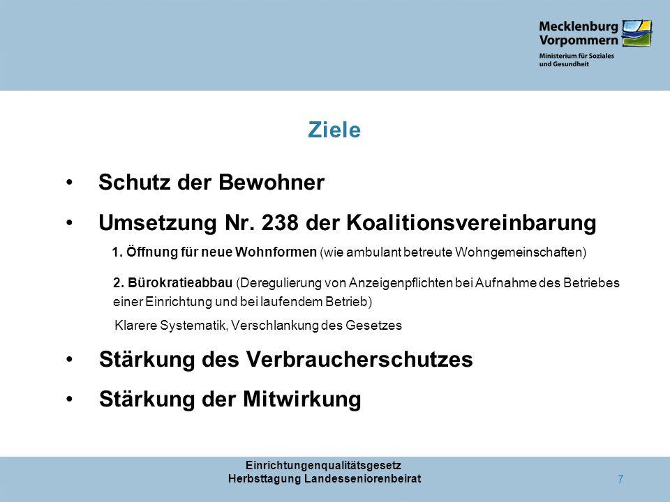 Ziele Schutz der Bewohner Umsetzung Nr.238 der Koalitionsvereinbarung 1.