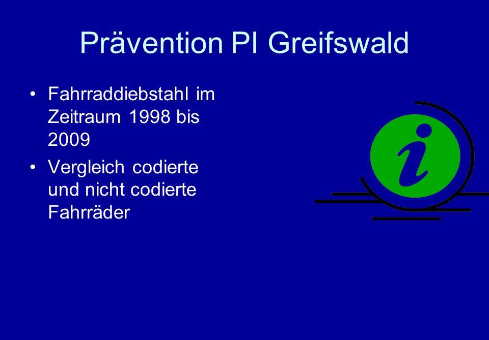 Prävention PI Greifswald Fahrraddiebstahl im Zeitraum 1998 bis 2009 Vergleich codierte und nicht codierte Fahrräder