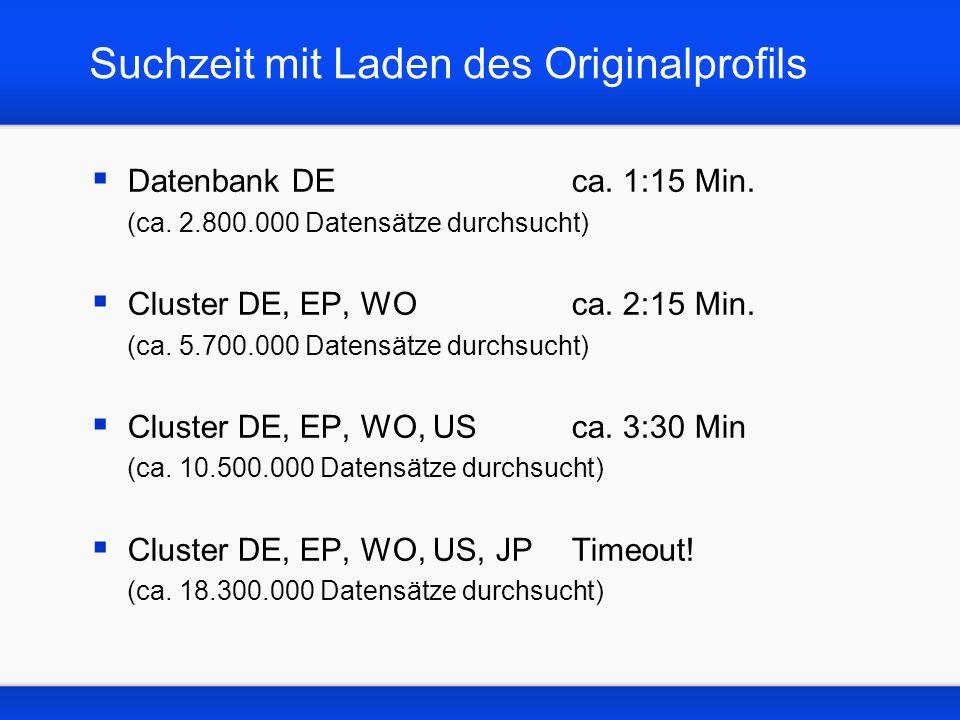 Suchzeit mit Laden des Originalprofils Datenbank DEca.