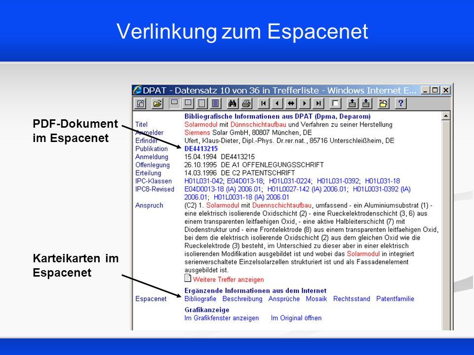 Verlinkung zum Espacenet PDF-Dokument im Espacenet Karteikarten im Espacenet