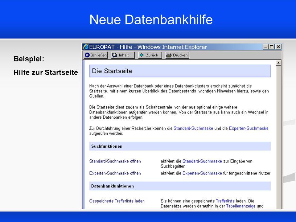 Neue Datenbankhilfe Beispiel: Hilfe zur Startseite