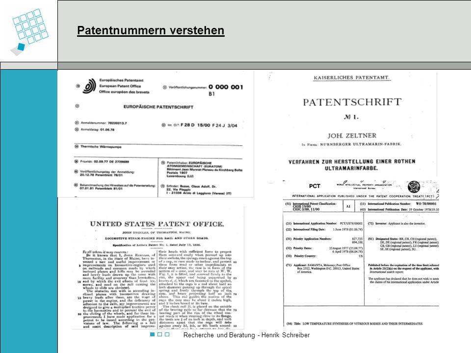 Recherche und Beratung - Henrik Schreiber Patentnummern verstehen