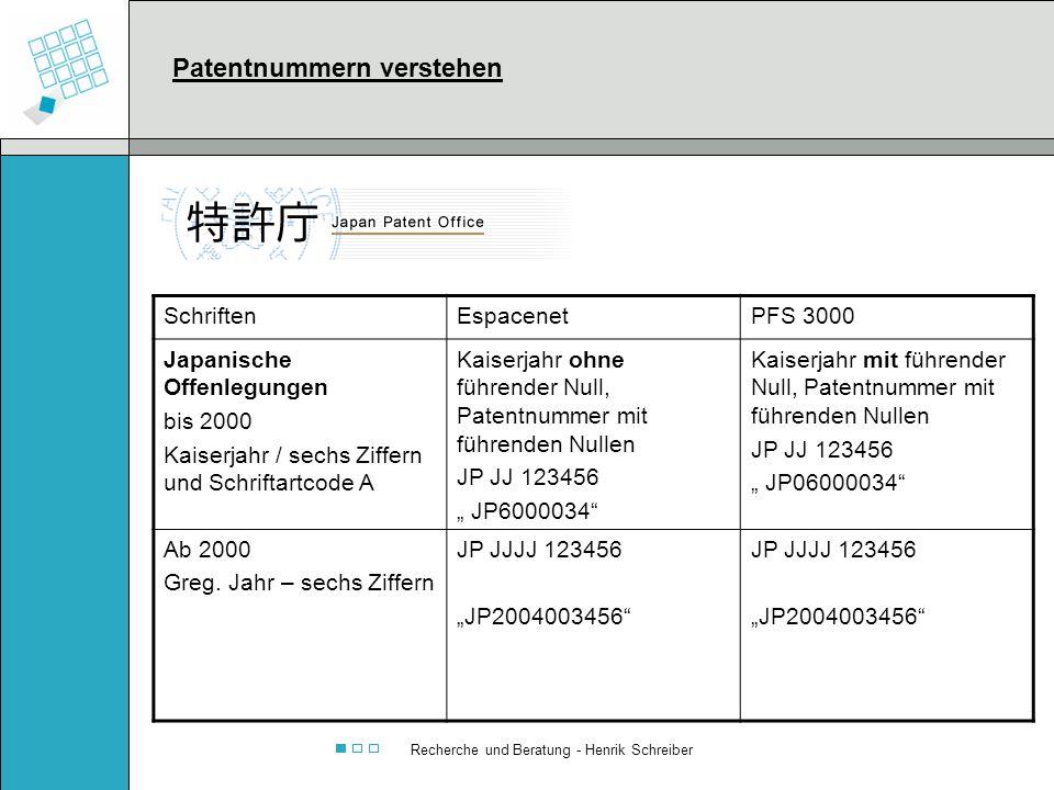 Recherche und Beratung - Henrik Schreiber SchriftenEspacenetPFS 3000 Japanische Offenlegungen bis 2000 Kaiserjahr / sechs Ziffern und Schriftartcode A