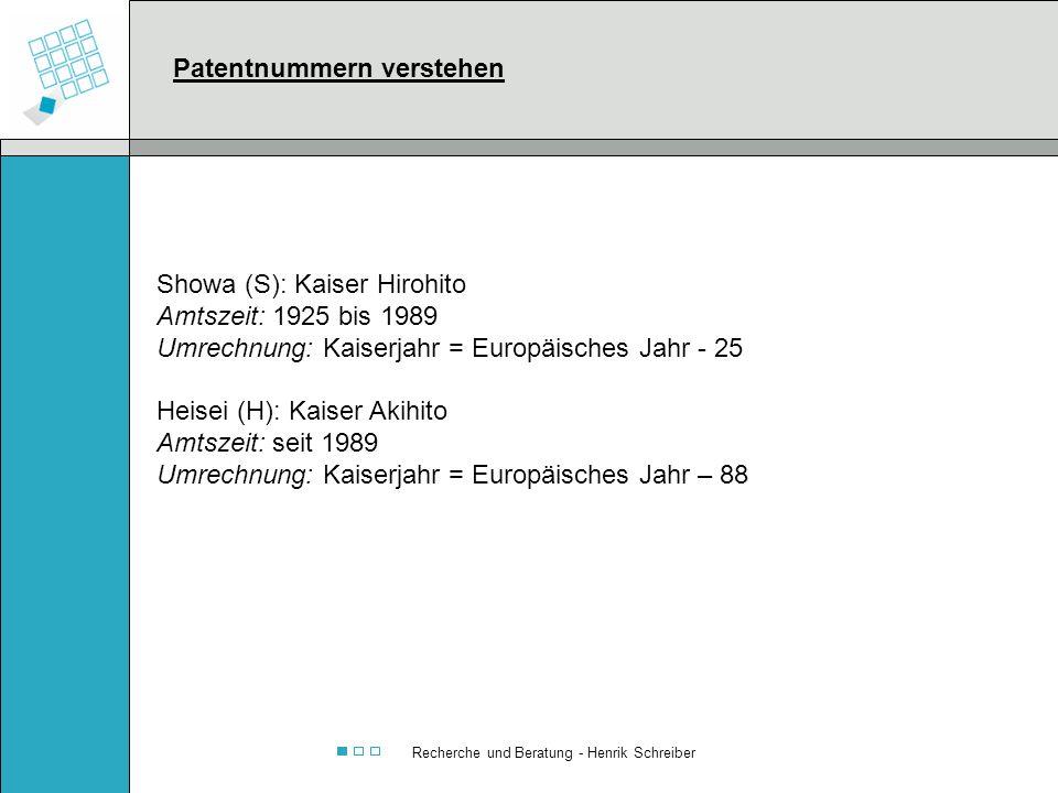 Recherche und Beratung - Henrik Schreiber Showa (S): Kaiser Hirohito Amtszeit: 1925 bis 1989 Umrechnung: Kaiserjahr = Europäisches Jahr - 25 Heisei (H