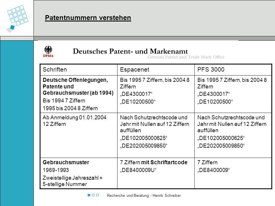Recherche und Beratung - Henrik Schreiber SchriftenEspacenetPFS 3000 Deutsche Offenlegungen, Patente und Gebrauchsmuster (ab 1994) Bis 1994 7 Ziffern