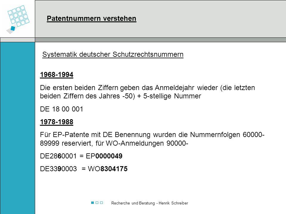 Recherche und Beratung - Henrik Schreiber 1968-1994 Die ersten beiden Ziffern geben das Anmeldejahr wieder (die letzten beiden Ziffern des Jahres -50)