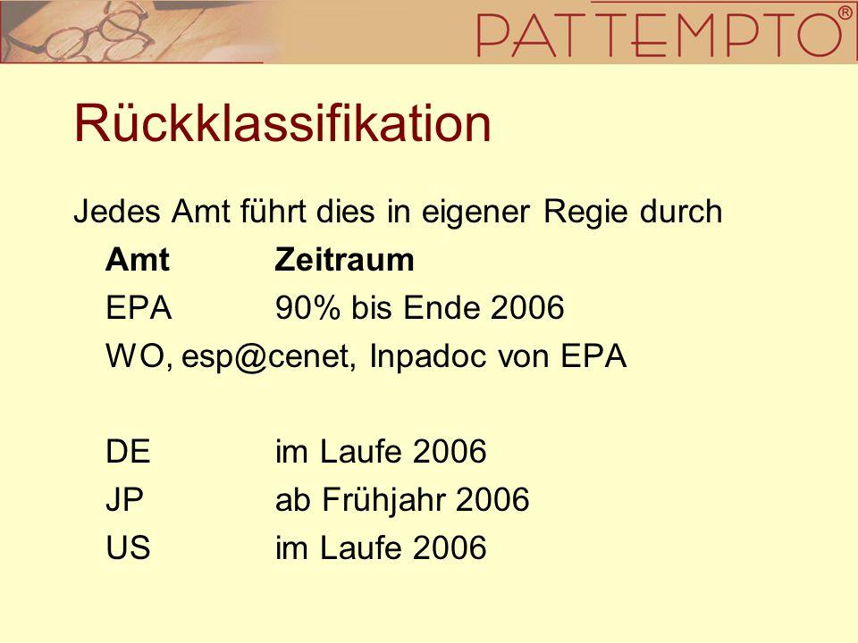 Rückklassifikation Jedes Amt führt dies in eigener Regie durch AmtZeitraum EPA90% bis Ende 2006 WO, esp@cenet, Inpadoc von EPA DEim Laufe 2006 JPab Fr