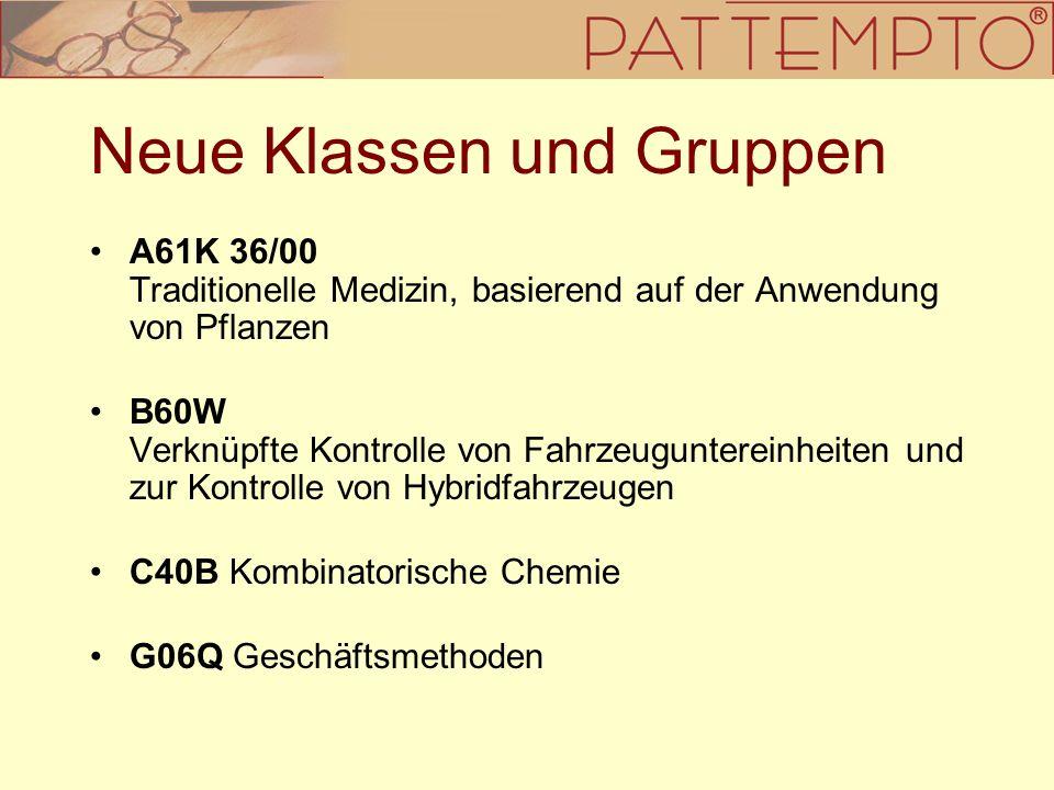 Neue Klassen und Gruppen A61K 36/00 Traditionelle Medizin, basierend auf der Anwendung von Pflanzen B60W Verknüpfte Kontrolle von Fahrzeuguntereinheit