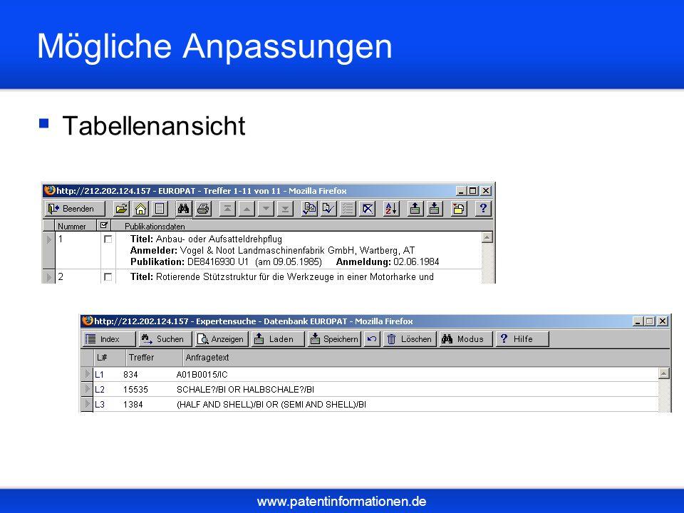 www.patentinformationen.de Mögliche Anpassungen Tabellenansicht