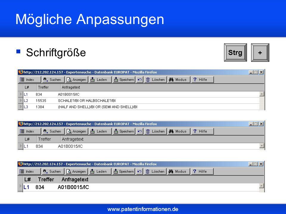 www.patentinformationen.de Mögliche Anpassungen Schriftgröße Strg +