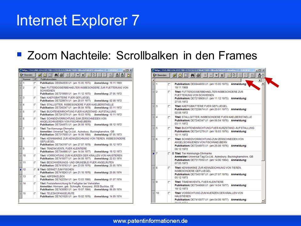 www.patentinformationen.de Internet Explorer 7 Zoom Nachteile: Scrollbalken in den Frames