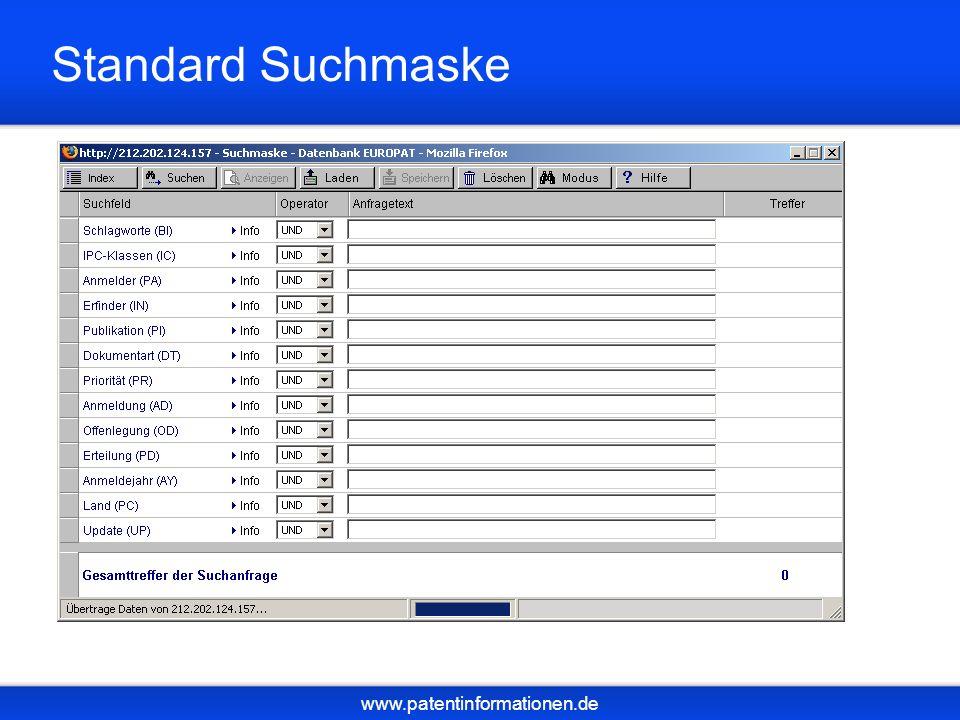 www.patentinformationen.de Standard Suchmaske