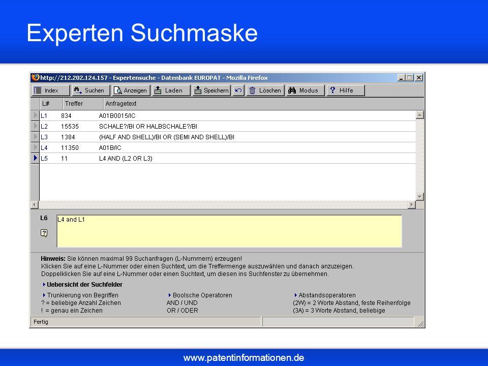 www.patentinformationen.de Experten Suchmaske