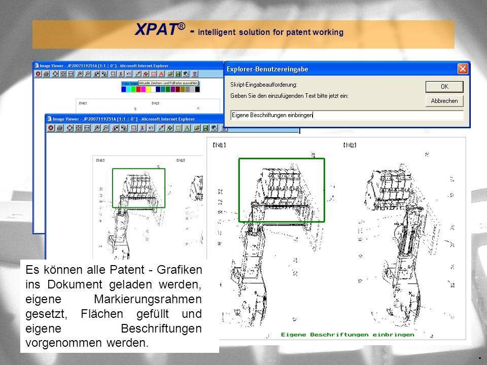 . XPAT ® - intelligent solution for patent working Es können alle Patent - Grafiken ins Dokument geladen werden, eigene Markierungsrahmen gesetzt, Flä