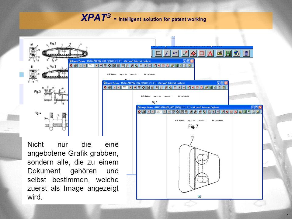 . XPAT ® - intelligent solution for patent working Nicht nur die eine angebotene Grafik grabben, sondern alle, die zu einem Dokument gehören und selbs