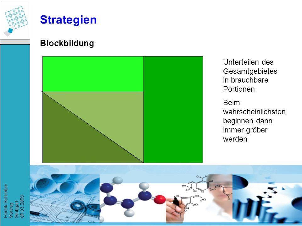Recherchestrategien, Henrik Schreiber, März 2009 Henrik Schreiber Vortrag Stuttgart 06.03.2009 Strategien Unterteilen des Gesamtgebietes in brauchbare Portionen Beim wahrscheinlichsten beginnen dann immer gröber werden Blockbildung